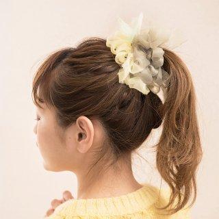 新緑|彩る咲き編みシュシュ
