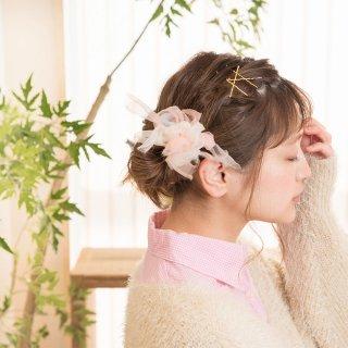 mini|パステル|咲き編みシュシュ