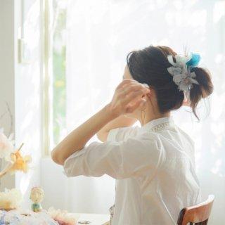 スモーキー|彩る咲き編みシュシュ