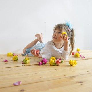 mini|ブルーハワイ|咲き編みシュシュ