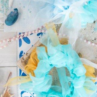 トロピカル|彩る咲き編みシュシュ