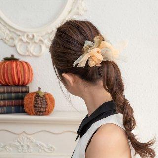mini|パンプキン|咲き編みシュシュ