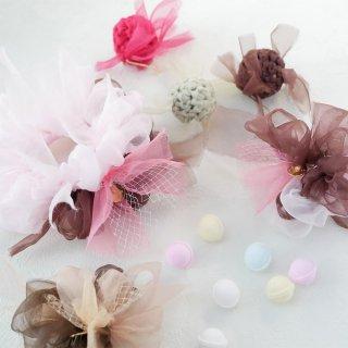 いちごチョコ|彩る咲き編みシュシュ