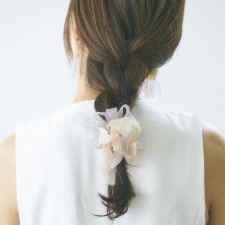 【春夏限定】mini|ミルクティ|咲き編みシュシュ