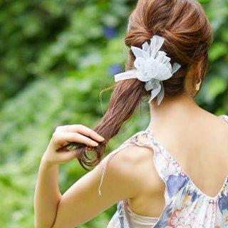 【夏限定】mini|ラムネ|咲き編みシュシュ