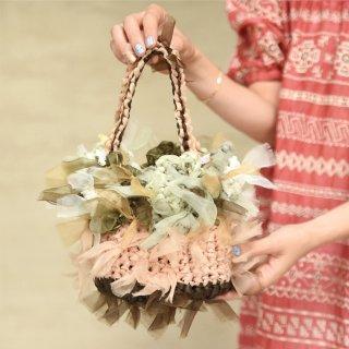 グリーンバスケット|プチ|咲き編みフラワーバスケット
