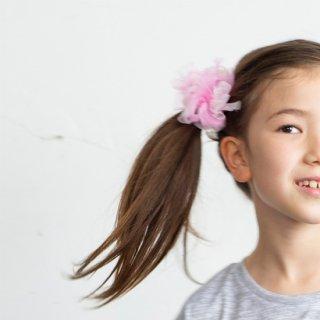 【for Kids】咲き編みヘアゴム|ダンス(ピンク)