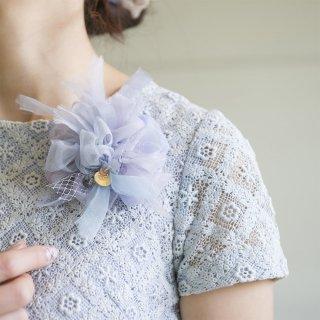 Blue|やさしく彩る咲き編みコサージュ