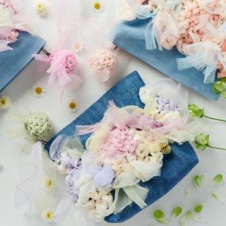 スパイシーパステル|咲き編みポーチ