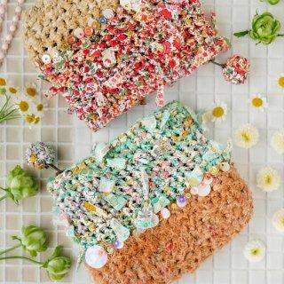 グリーン|わたしだけの咲き編みポーチ(リバティxスパンコール)