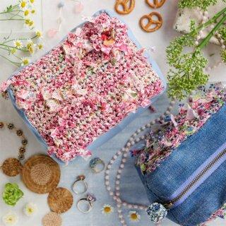 ピンク|わたしだけの咲き編みポーチ(リバティxキューブ)