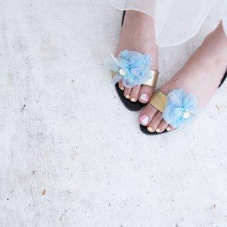 ワスレナグサ|彩る咲き編みシューズクリップ