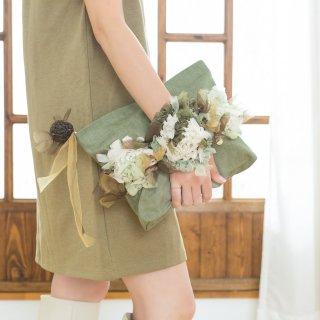 フォレスト|咲き編みポシェット・クラッチ(デニム)