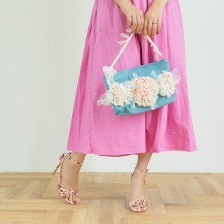 ラブリー|咲き編みクラッチ・ハンドバッグ(デニム)
