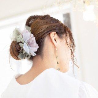 ピスタチオ|彩る咲き編みシュシュ