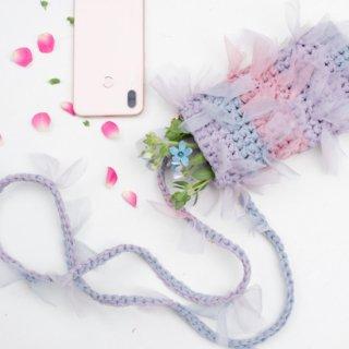 咲き編みストラップ|サコッシュ・スマホポシェットオプション