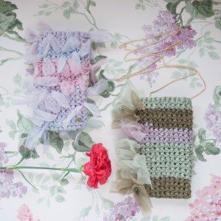 ラッピング無料【母とつながるセット】咲き編みスマホポシェット