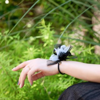 夏を彩る咲き編みヘアゴム|クールブラック