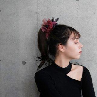 【party】ルージュ|咲き編みシュシュ