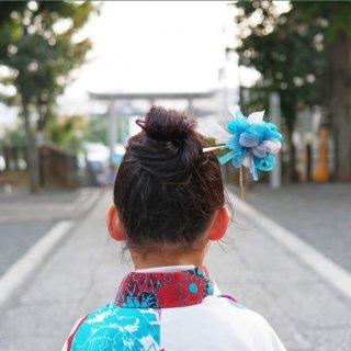 七五三を彩る咲き編み手毬かんざし|花浅葱(はなあさぎ)