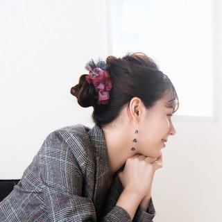 【party】mini | ルージュ | 彩る咲き編みバレッタ/ヘアクリップ