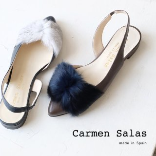Carmen Salas カルメンサラス 天然ファー付 バックストラップ パンプス (carmen-abodul)