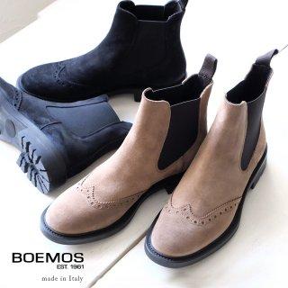 BOEMOS ボエモス レディース スエード 本革 ウィングチップ サイドゴアショートブーツ (boemos8842)