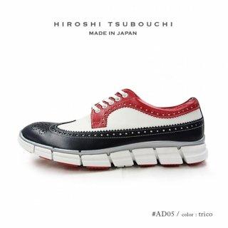 HIROSHI TSUBOUCHI ヒロシツボウチ 日本製 本革 ウイングチップ トリコロール スニーカー ハイブリットシューズ (ht-ad05)