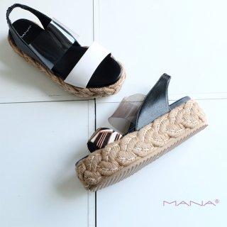 MANA マナ クリア素材 本革 厚底 ウェッジ サンダル (mana592113-14)