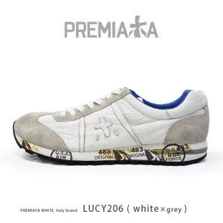 PREMIATA WHITE プレミアータ ホワイト LUCY 206 メンズ 本革 厚底 大人スニーカー (pre-lucy206)