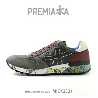 PREMIATA WHITE プレミアータ ホワイト MICK 2321 メンズ 本革 厚底 大人スニーカー (pre-mick2321)