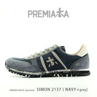 PREMIATA WHITE プレミアータ ホワイト SIMON 2137 メンズ 本革 厚底 大人スニーカー (pre-simon2137)