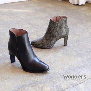 wonders 本革 パイソン柄 ショートブーツ (wonders4302)
