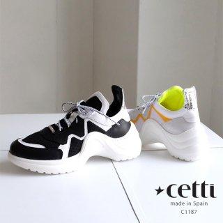 Cetti 本革 レディース 厚底 レザー スニーカー (cetti-c1187)
