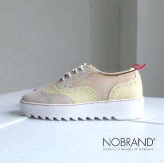 NOBRAND レディース 本革 厚底 ウイングチップ スニーカー (nobrand13011-3)