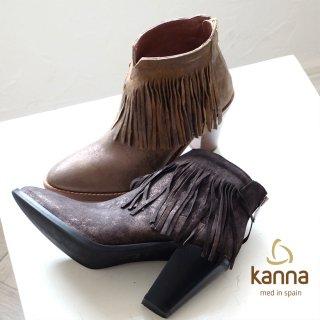 kanna フリンジウエスタン風ショートブーツ(kanna6703)