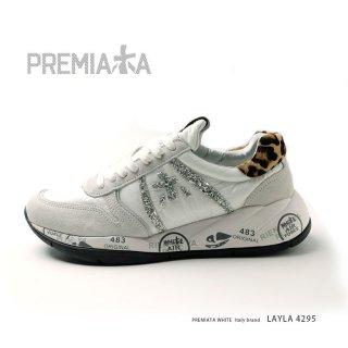 PREMIATA WHITE プレミアータ ホワイト LAYLA4295 レディース 本革 厚底 大人スニーカー (pre-layla4295)