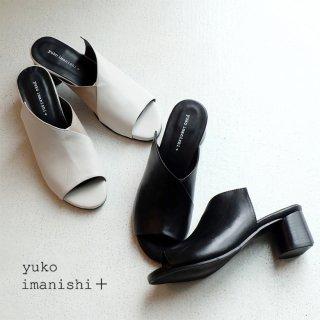 yuko imanishi+ 本革アシンメトリーヒールミュール (yuko702019)