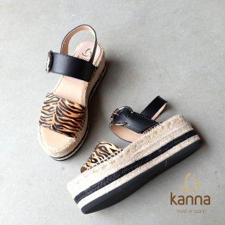 kanna トラ柄ハラコのウェッジサンダル (kanna20251)