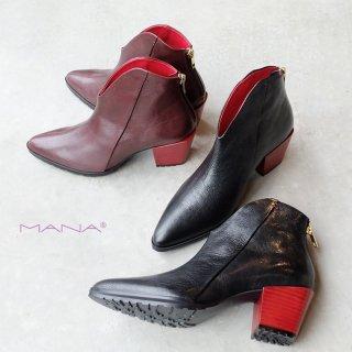 MANA マナ 赤ヒールショートブーツ(mana507033)