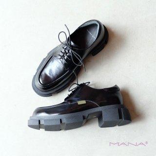 MANA マナ モカシン厚底シューズ black(mana501070)