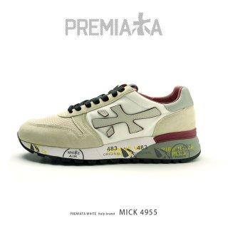 PREMIATA WHITE プレミアータ ホワイト MICK 4955 メンズ 本革 厚底 大人スニーカー(pre-mick4955)