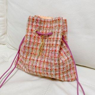 巾着 リントンツイード ブラウン×ピンクオレンジ