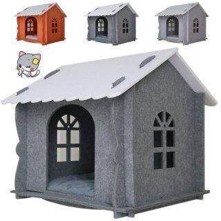 キャットハウス(クッション、カーテン、窓付き) 組み立て式