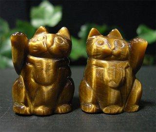 彫刻(招き猫財福2個セット-タイガーアイ1)