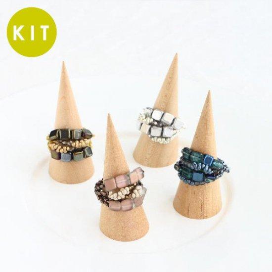 スクエアビーズのリング(4色)