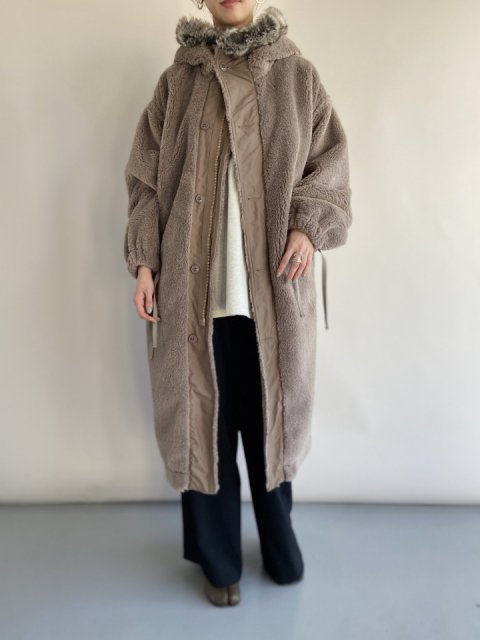 HOOD FAUX SHEARLING M-43 TYPE COAT