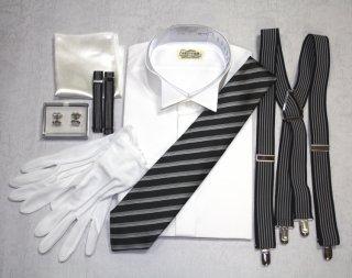 【レンタル】立ち襟ワイシャツ+カフス+アームバンド+縞ネクタイ+手袋+チーフ+サスペンダー