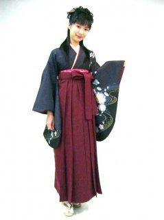 【レンタル】袴セット  20点フルセット 018-004 小振袖:グレー桜 × 袴:エンジ無地