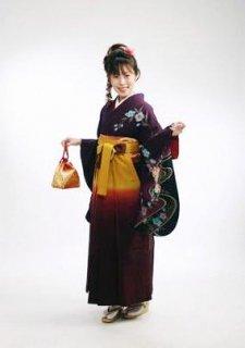 【レンタル】袴セット  20点フルセット 018-005 小振袖:紫桜×袴:カラシ紫ぼかし